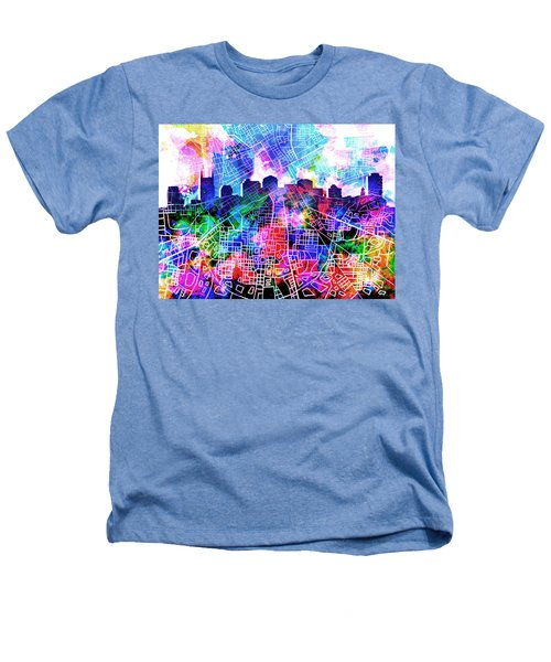 Nashville Skyline Watercolor 5 Heathers T-Shirt by Bekim Art
