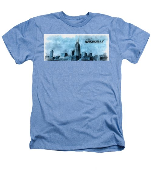 Nashville Tennessee In Blue Heathers T-Shirt by Dan Sproul