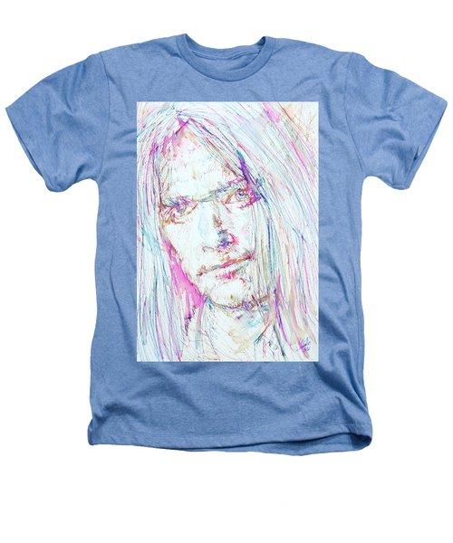 Neil Young - Colored Pens Portrait Heathers T-Shirt by Fabrizio Cassetta