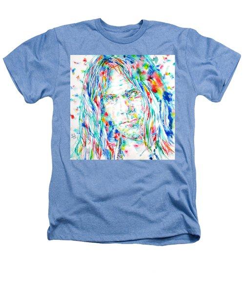 Neil Young - Watercolor Portrait Heathers T-Shirt by Fabrizio Cassetta