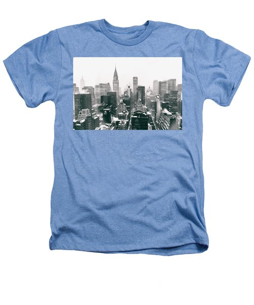 New York City - Snow-covered Skyline Heathers T-Shirt by Vivienne Gucwa