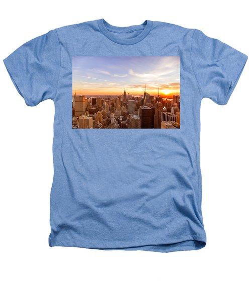 New York City - Sunset Skyline Heathers T-Shirt by Vivienne Gucwa