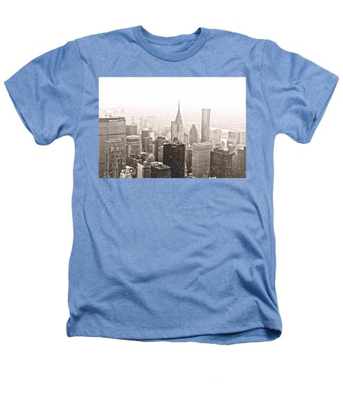 New York Winter - Skyline In The Snow Heathers T-Shirt by Vivienne Gucwa