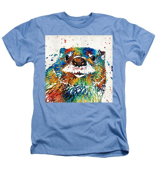 Otter Art - Ottertude - By Sharon Cummings Heathers T-Shirt by Sharon Cummings
