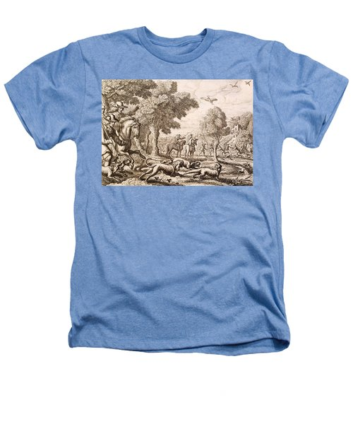 Otter Hunting By A River, Engraved Heathers T-Shirt by Francis Barlow