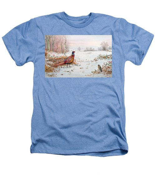 Pheasant And Bramblefinch In The Snow Heathers T-Shirt by Carl Donner
