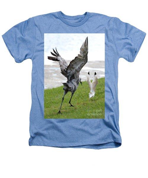 Sandhill Chasing Ibis Heathers T-Shirt by Carol Groenen