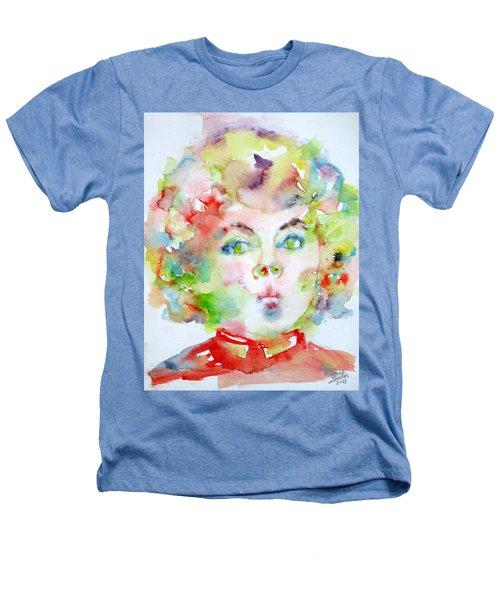 Shirley Temple - Watercolor Portrait.2 Heathers T-Shirt by Fabrizio Cassetta