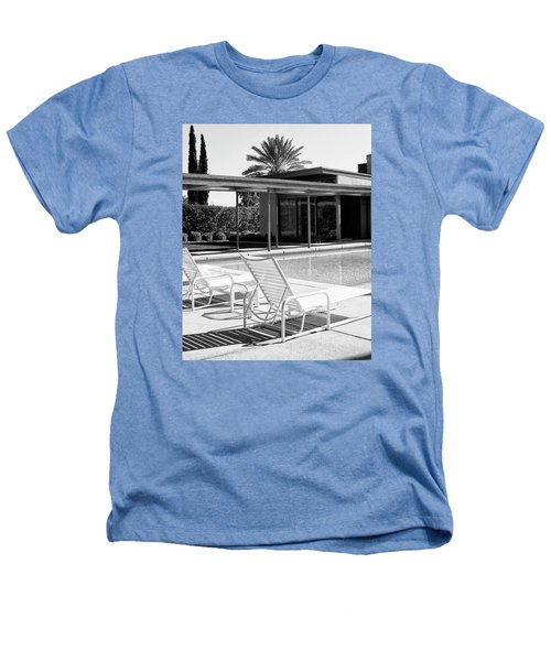 Sinatra Pool Bw Palm Springs Heathers T-Shirt by William Dey
