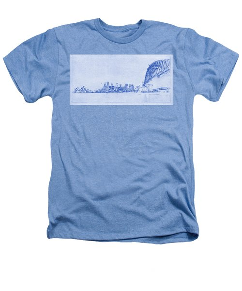 Sydney Skyline Blueprint Heathers T-Shirt by Kaleidoscopik Photography