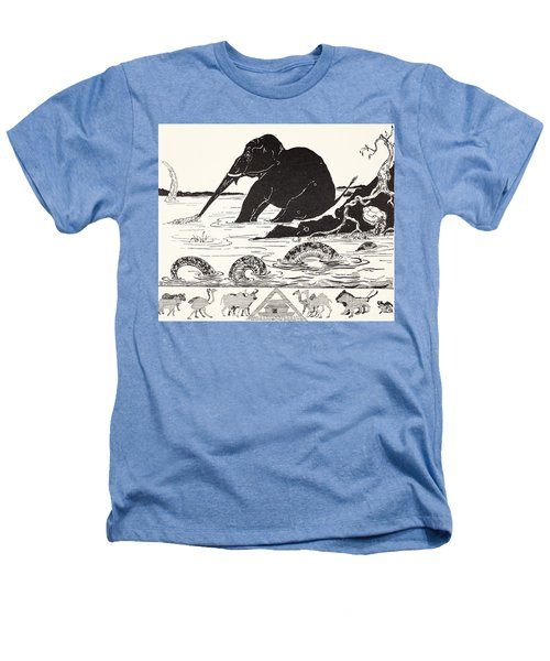 The Elephant's Child Having His Nose Pulled By The Crocodile Heathers T-Shirt by Joseph Rudyard Kipling