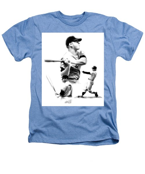 The Mick  Mickey Mantle Heathers T-Shirt by Iconic Images Art Gallery David Pucciarelli