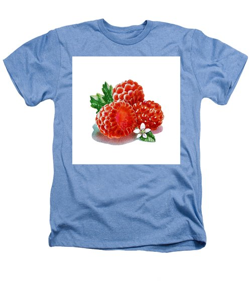 Three Happy Raspberries Heathers T-Shirt by Irina Sztukowski