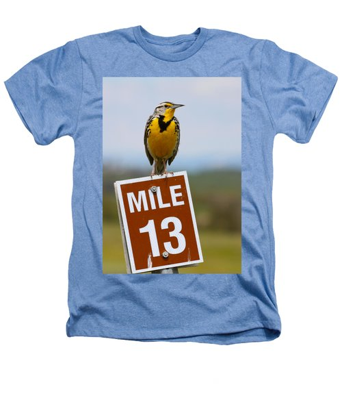Western Meadowlark On The Mile 13 Sign Heathers T-Shirt by Karon Melillo DeVega