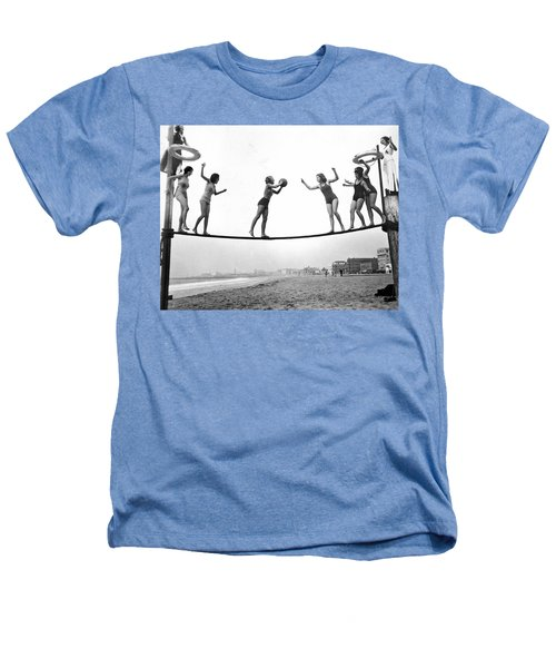 Women Play Beach Basketball Heathers T-Shirt by Underwood Archives