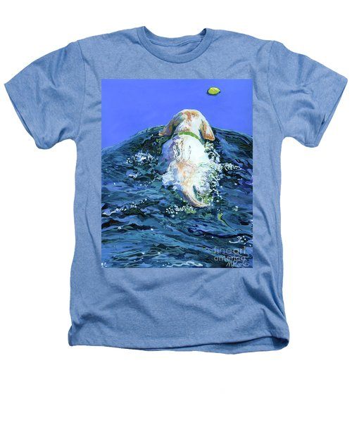 Yellow Lab  Blue Wake Heathers T-Shirt by Molly Poole