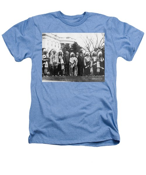 Coolidge With Native Americans Heathers T-Shirt by Photo Researchers