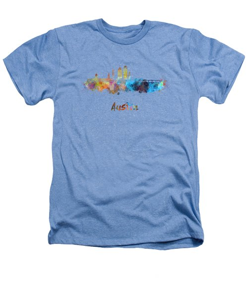 Austin Skyline In Watercolor Heathers T-Shirt by Pablo Romero