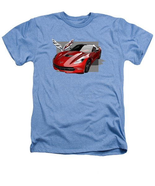 Chevrolet Corvette  C 7  Stingray With 3 D Badge  Heathers T-Shirt by Serge Averbukh