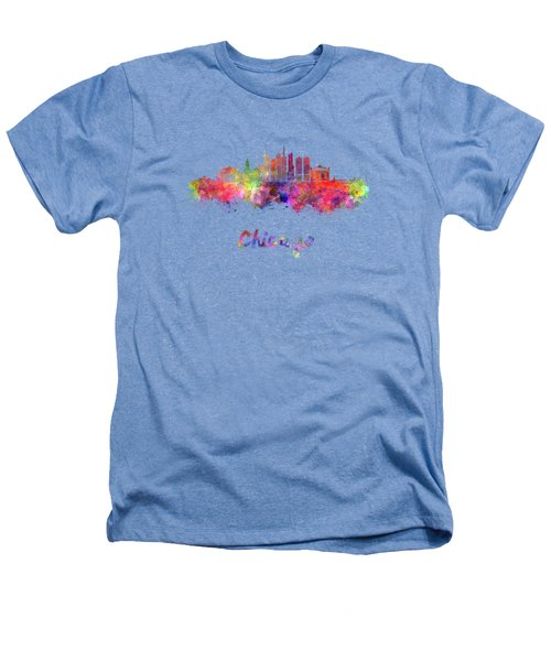 Chicago Skyline In Watercolor Heathers T-Shirt by Pablo Romero