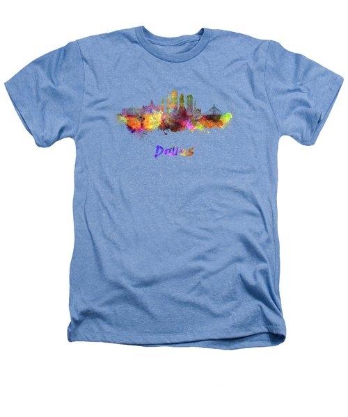 Dallas Skyline In Watercolor Heathers T-Shirt by Pablo Romero