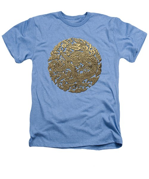 Golden Chinese Dragon White Leather  Heathers T-Shirt by Serge Averbukh