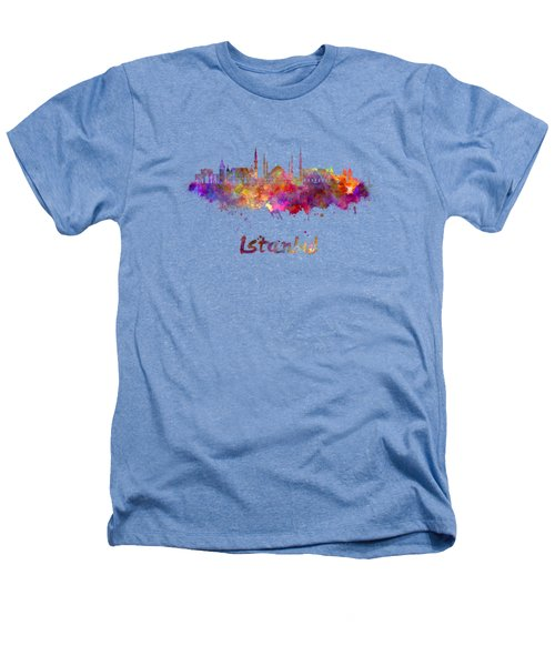Istanbul Skyline In Watercolor Heathers T-Shirt by Pablo Romero