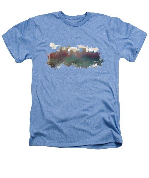 Seattle Washington Skyline Heathers T-Shirt by Justyna JBJart