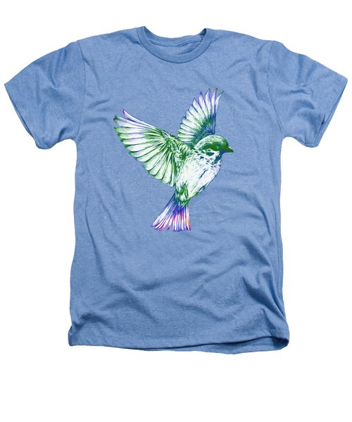 Textured Bird With Changeable Background Color Heathers T-Shirt by Sebastien Coell
