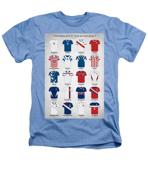 The Evolution Of The Us World Cup Soccer Jersey Heathers T-Shirt by Taylan Apukovska