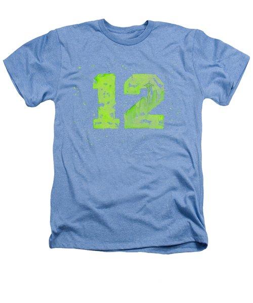 12th Man Seahawks Art Go Hawks Heathers T-Shirt by Olga Shvartsur