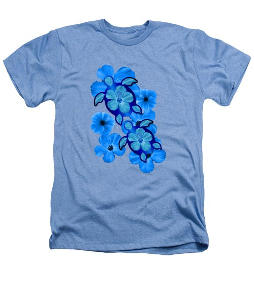 Blue Hibiscus And Honu Turtles Heathers T-Shirt by Chris MacDonald