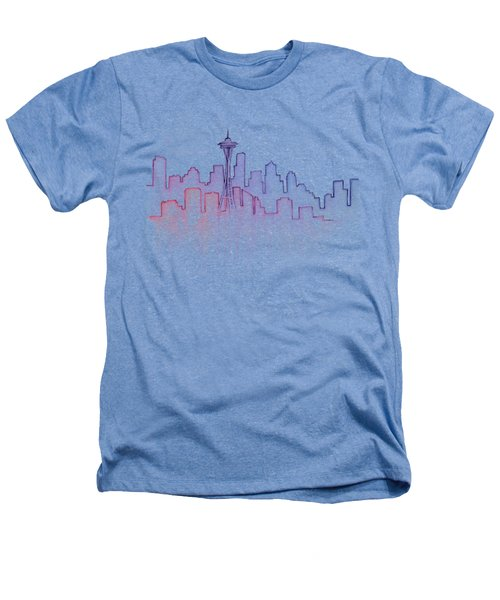 Seattle Skyline Watercolor Heathers T-Shirt by Olga Shvartsur