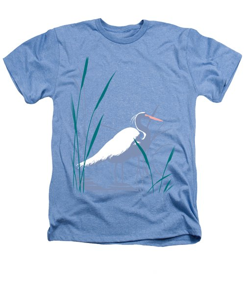 abstract Egret graphic pop art nouveau 1980s stylized retro tropical florida bird print blue gray  Heathers T-Shirt by Walt Curlee