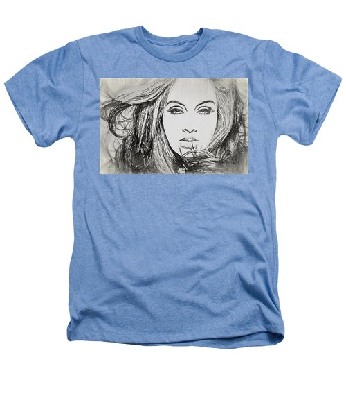 Adele Charcoal Sketch Heathers T-Shirt by Dan Sproul