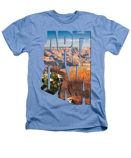 Arizona Typography - Grand Canyon At Sunset Heathers T-Shirt by Gregory Ballos
