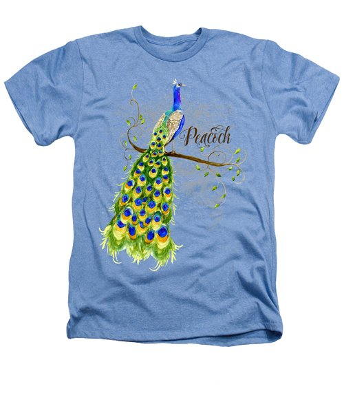 Art Nouveau Peacock W Swirl Tree Branch And Scrolls Heathers T-Shirt by Audrey Jeanne Roberts