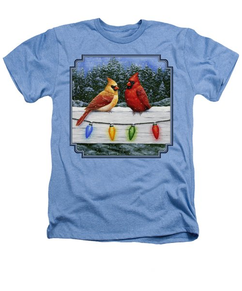 Bird Painting - Christmas Cardinals Heathers T-Shirt by Crista Forest