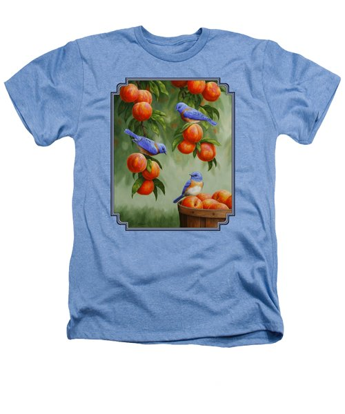 Bird Painting - Bluebirds And Peaches Heathers T-Shirt by Crista Forest
