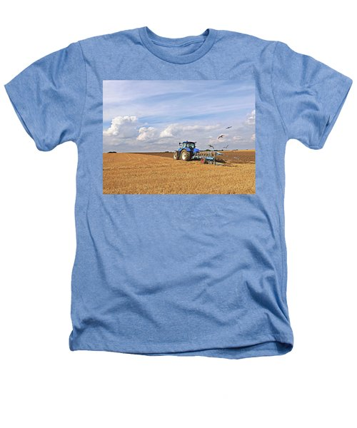 Ploughing After The Harvest Heathers T-Shirt by Gill Billington