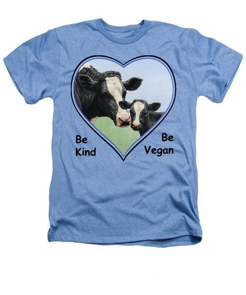 Holstein Cow And Calf Blue Heart Vegan Heathers T-Shirt by Crista Forest
