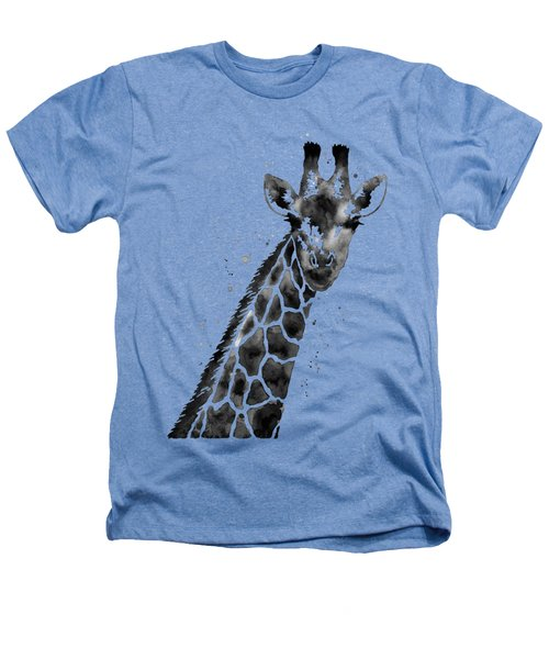 Giraffe In Black And White Heathers T-Shirt by Hailey E Herrera
