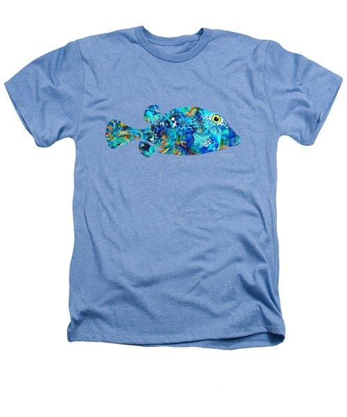 Blue Puffer Fish Art By Sharon Cummings Heathers T-Shirt by Sharon Cummings
