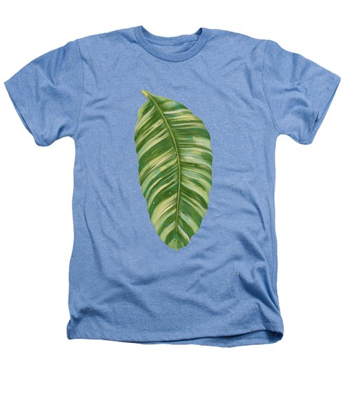 Rainforest Resort - Tropical Leaves Elephant's Ear Philodendron Banana Leaf Heathers T-Shirt by Audrey Jeanne Roberts
