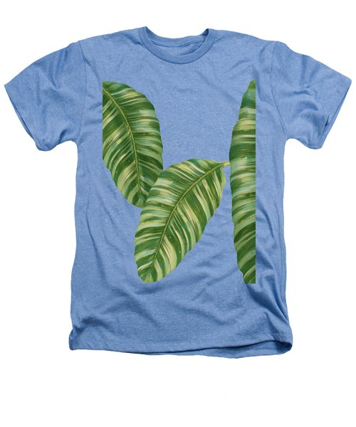Rainforest Resort - Tropical Banana Leaf  Heathers T-Shirt by Audrey Jeanne Roberts