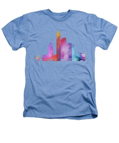 Los Angeles Landmarks Watercolor Poster Heathers T-Shirt by Pablo Romero