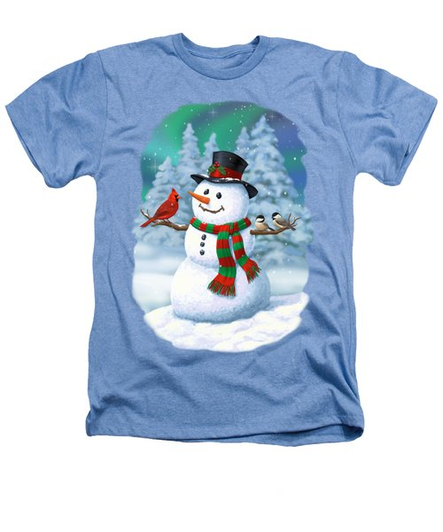Sharing The Wonder - Christmas Snowman And Birds Heathers T-Shirt by Crista Forest