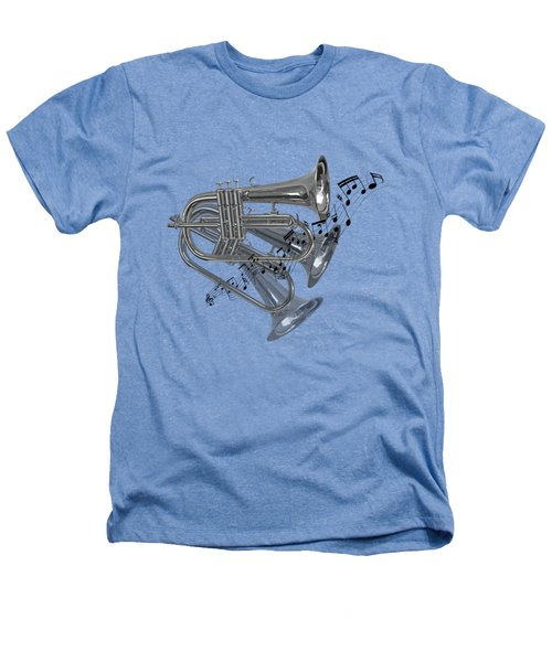 Trumpet Fanfare Black And White Heathers T-Shirt by Gill Billington