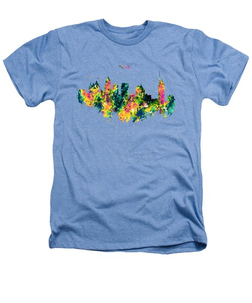 Atlanta Watercolor Skyline  Heathers T-Shirt by Marian Voicu