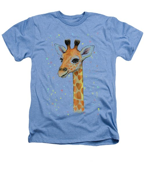 Baby Giraffe Watercolor With Heart Shaped Spots Heathers T-Shirt by Olga Shvartsur